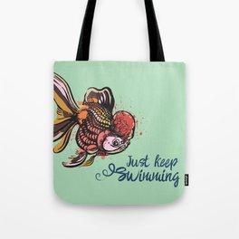 Just Keep Swimming Mint Goldfish Tote Bag