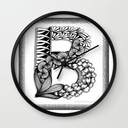 Zentangle B Monogram Alphabet Initial Wall Clock