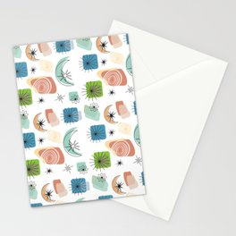 Mid Century Modern Retro Pattern Stationery Cards