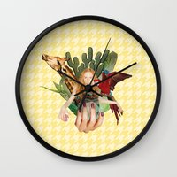 safari Wall Clocks featuring Safari  by polina stroganova collages