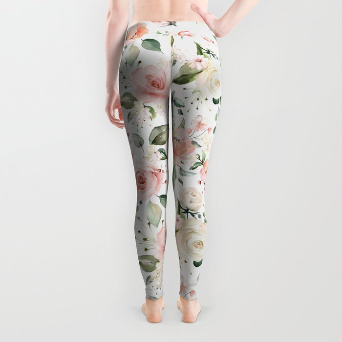 Sunny Floral Pastel Pink Watercolor Flower Pattern Leggings