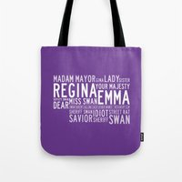 swan queen Tote Bags featuring Swan Queen Nicknames - Purple (OUAT) by CLM Design