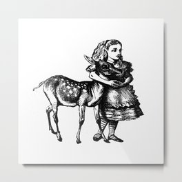 Alice and the Fawn in Black Metal Print