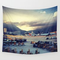 airplanes Wall Tapestries featuring Dawn at Chek Lap Kok by Gray