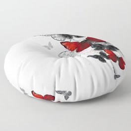Flying Black and Red Morpho Butterflies Floor Pillow