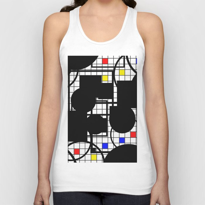 Colour Relationships - Black, white, red, yellow, blue, geometric abstract artwork Unisex Tank Top