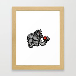 a strong angry bull with a barbell Framed Art Print