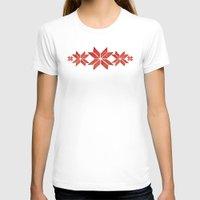scandinavian T-shirts featuring Scandinavian inspired print with red mini stars by Jennifer Rizzo Design Company