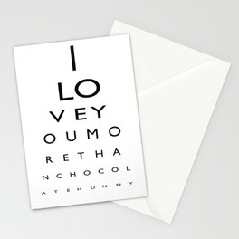 I love you more than chocolate Stationery Cards