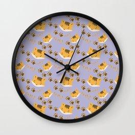 Cute Foxy on blue Wall Clock