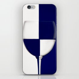 Blue and White wine glass shows the contrast iPhone Skin