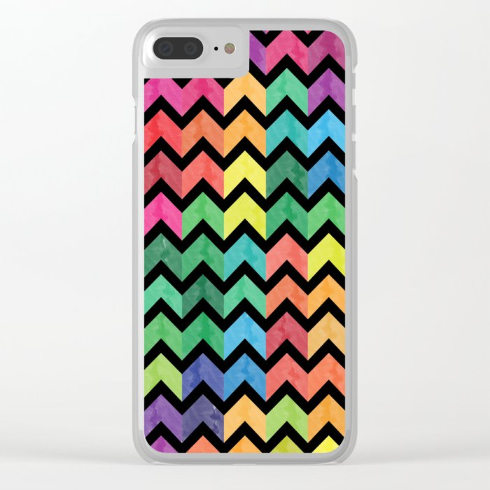 Watercolor Chevron Pattern V Clear iPhone Case