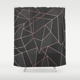 Chic Rose Gold Geometric Outline on Black Charcoal Shower Curtain