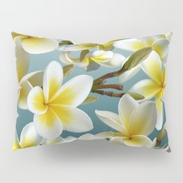 Plumeria on Blue Pillow Sham
