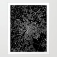 brussels Art Prints featuring Brussels by Line Line Lines