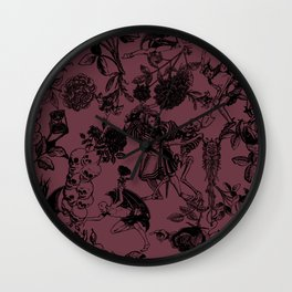 Demons N' Roses Toile in Goth Reddish Purple + Black Wall Clock