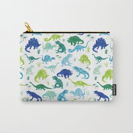 Watercolor Dinosaur Pattern White Green Blue Carry-All Pouch