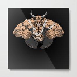 Weightlifter Musketeer Weight Training Motif Metal Print