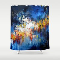 oil Shower Curtains featuring Oil Gravity by Maioriz Home