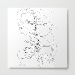 Couple with cat Metal Print