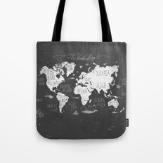 The World Map B/W Tote Bag