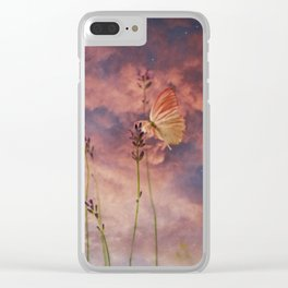 Butterfly and Blush Pink and Indigo Blue Sunset Clear iPhone Case