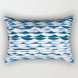 Glitch Waves - Classic Blue Rectangular Pillow