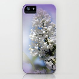 white lilac on textured background -a- iPhone Case