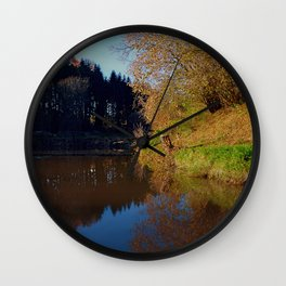 Romantic evening at the pond | waterscape photography Wall Clock