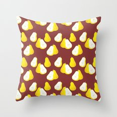 Watercolor Pear Pattern ~ Brown Throw Pillow