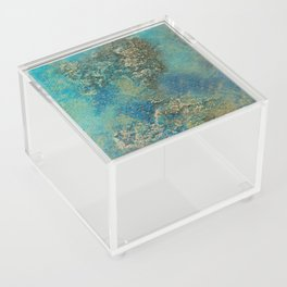 Blue And Gold Modern Abstract Art Painting Acrylic Box