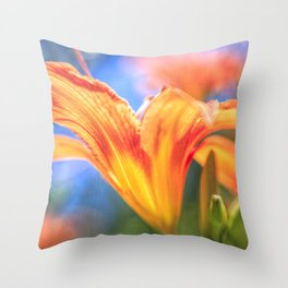 Orange Daylily with Soft Focus Throw Pillow