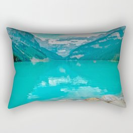 Digital Painting of a Sunny Summer's Day over Lake Louise in Banff National Park, Alberta Rectangular Pillow