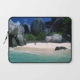 Seychelles Islands' Beach and Emerald Green Indian Ocean Laptop Sleeve
