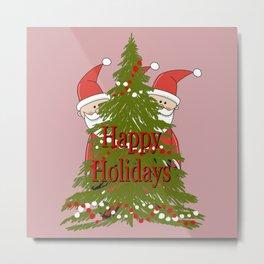 Happy Holidays Secret Santa with Christmas tree on Mauve background Metal Print