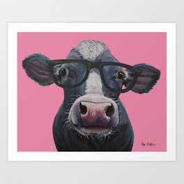 Cow with Glasses Art, colorful cow art Art Print