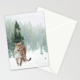 Leopard Running on Snow Stationery Cards