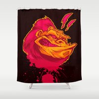 ape Shower Curtains featuring SHREWD APE by BeastWreck