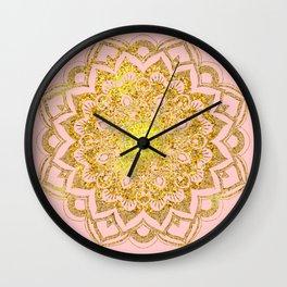 Golden Mandala i Wall Clock
