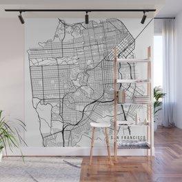 San Francisco Map, USA - Black and White Wall Mural