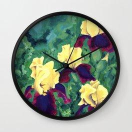 Bright Irises Wall Clock