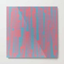 Geometric Blue Pink Painting Metal Print
