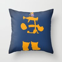 thanos Throw Pillows featuring The Overmaster (Thanos) by Timmy D. Matias