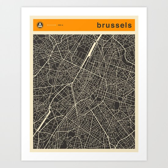 Brussels Map Art Print