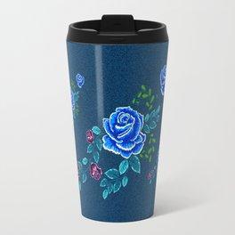 Blue Embroidery Rose Travel Mug