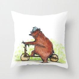 Bear Bike Throw Pillow