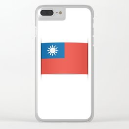 Flag of Taiwan.  The slit in the paper with shadows. Clear iPhone Case