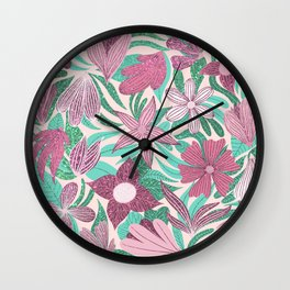 Pastel Pink Green Floral Leaves Glitter Pattern Wall Clock