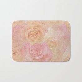 Pastel painterly roses Bath Mat