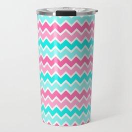 Turquoise Aqua Blue and Hot Pink Ombre Chevron Travel Mug